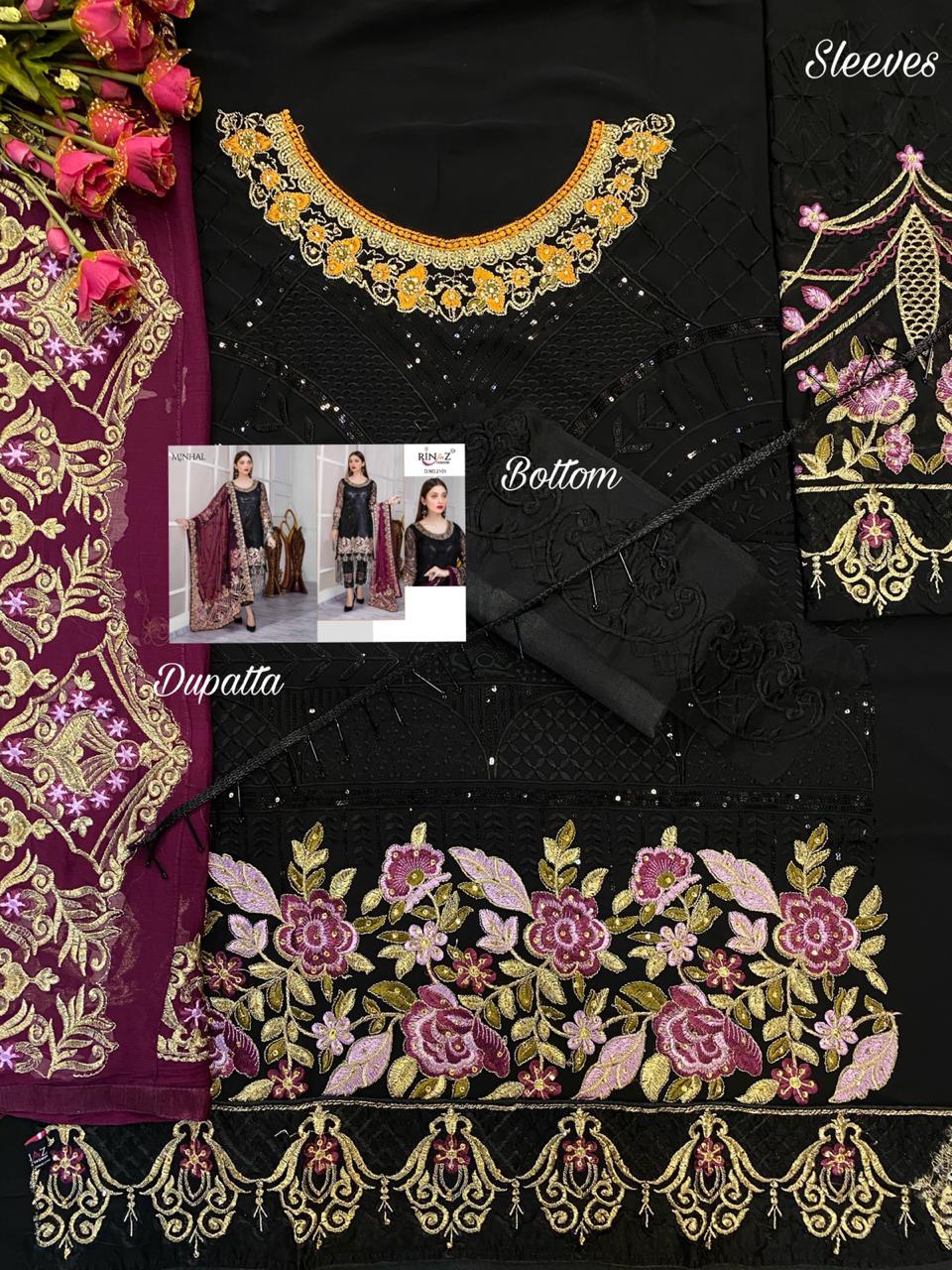 Rinaz Fashion Minhal Dress Material Straight/Pakistani Suit Catalog