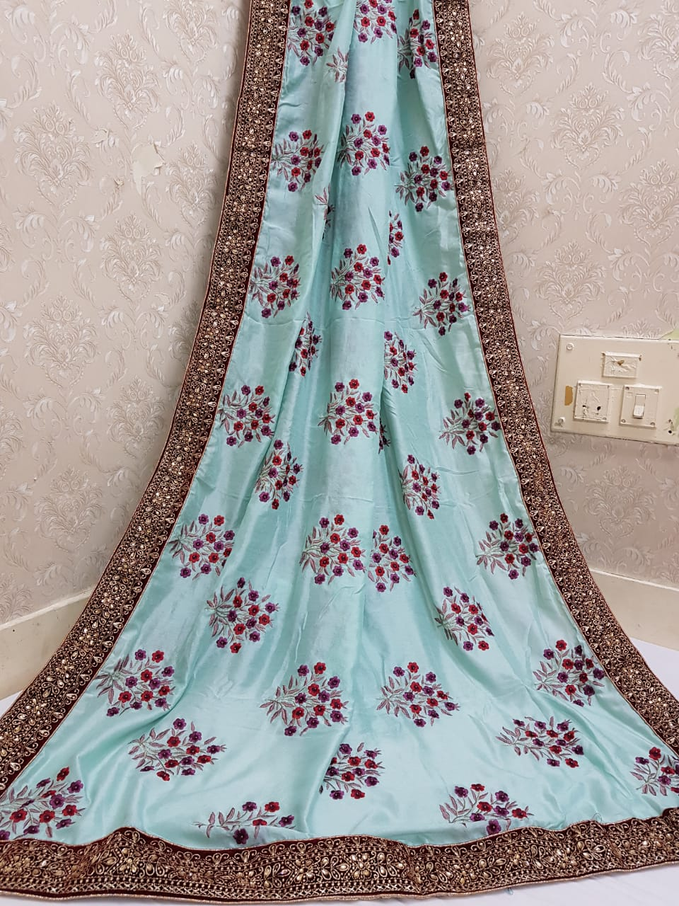 Pure Vichitra Silk Embroidery And Handwork Saree