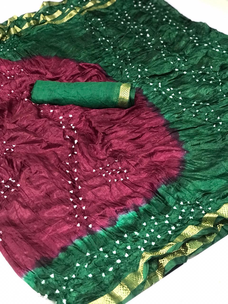Silk Cotton With Heavy Zari Weaving Border Orignal Bandhej Rang Saree