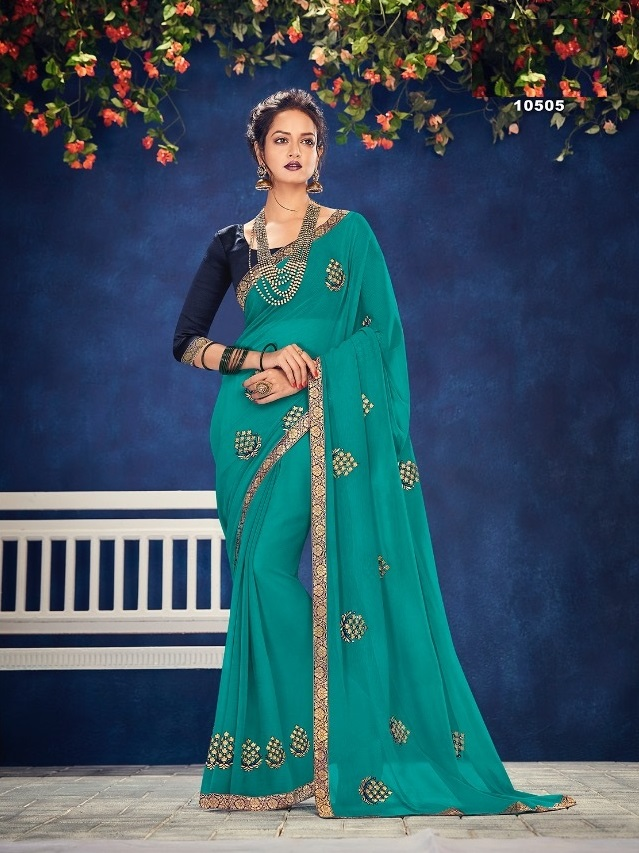 Zari Chiffon Georgette With Buti And Broach work Saree