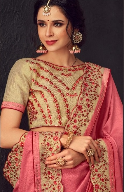 Mango vol 20 - Two Tone Synthetic Silk Broad Borders With Broach And Zari-Embroidery Saree