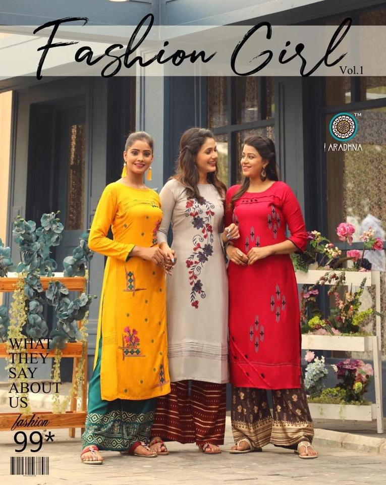 ARADHNA PRESENT NEW EXCLUSIVE FASHION GIRL VOL 1 HEAVY RAYON WITH EMBROIDERY WORK KURTI WITH PLAZZO