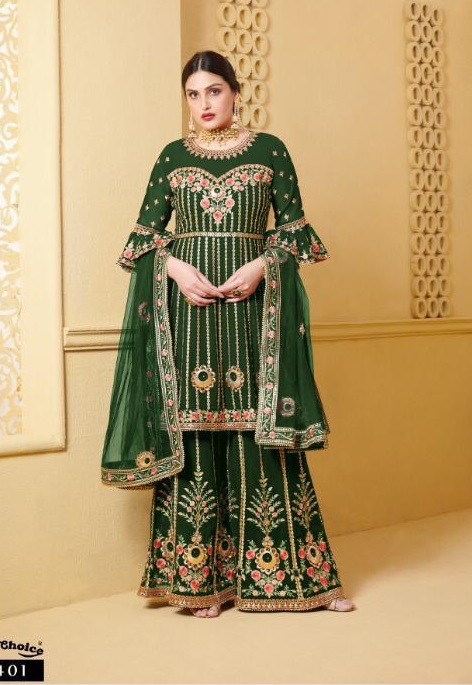 Your choice Wedding Special Bengle Pettern Suit With Sarara And Heavy Embroidery