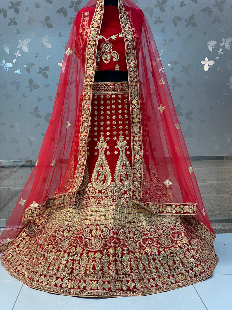 145-122 Fantastic Red Color Velvet Designer Lehenga Choli