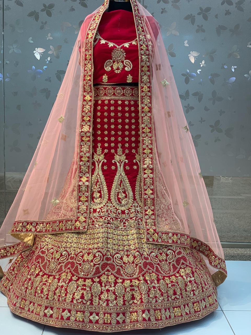 145-123 New Arrival Wedding Wear Velvet Lehenga Collection Wholesale