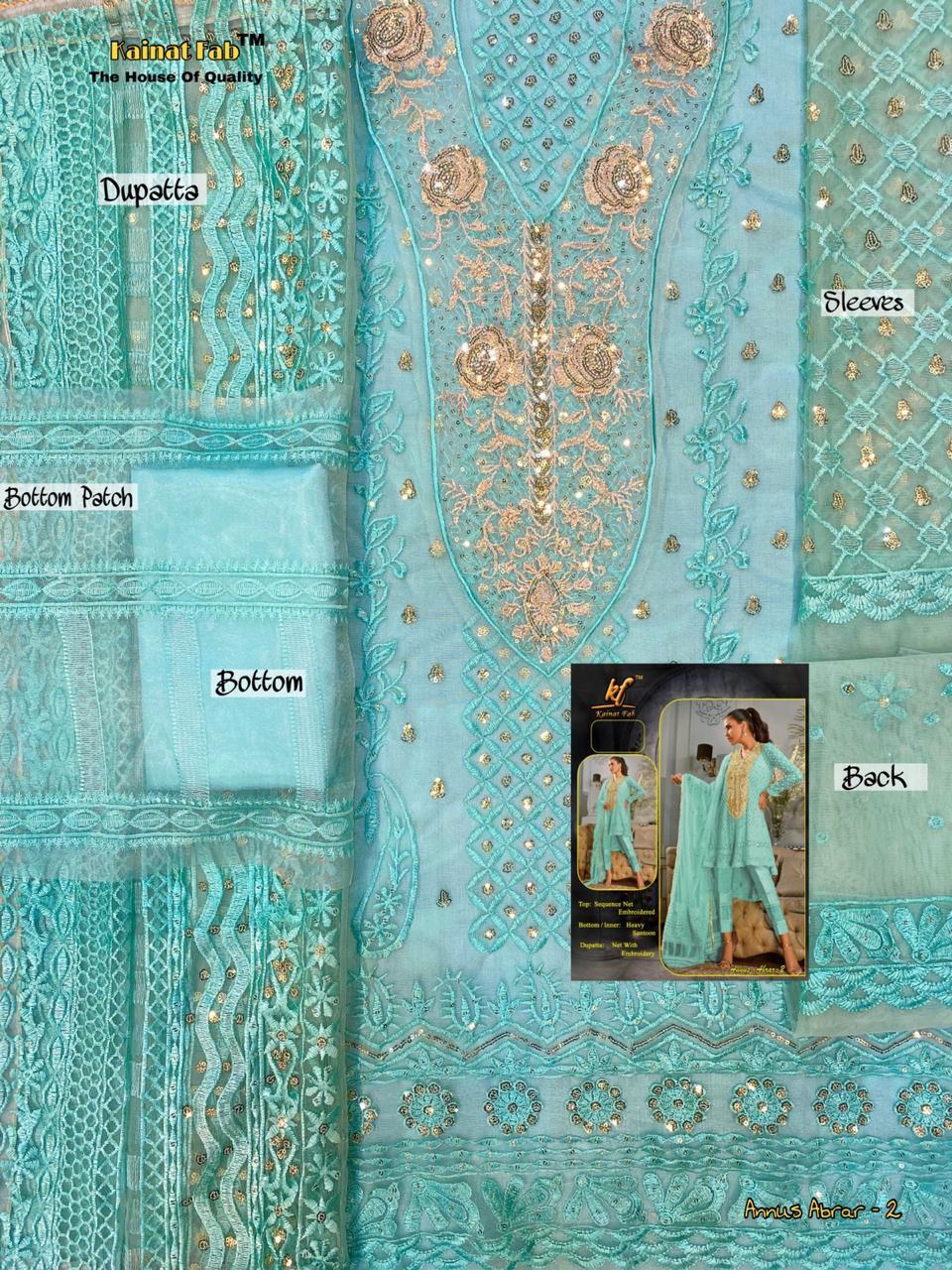 ANNUS ABRAR 2 DESIGNER DRESS MATERIAL BY KAINAT FAB