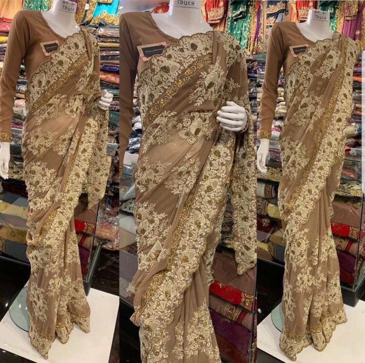 Georgette With Heavy Embroidery Saree Collection