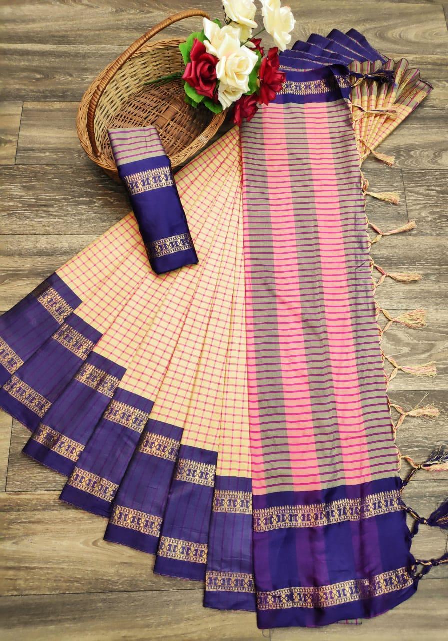 Small Cheks Premium Soft Cotton Silk Saree Collection