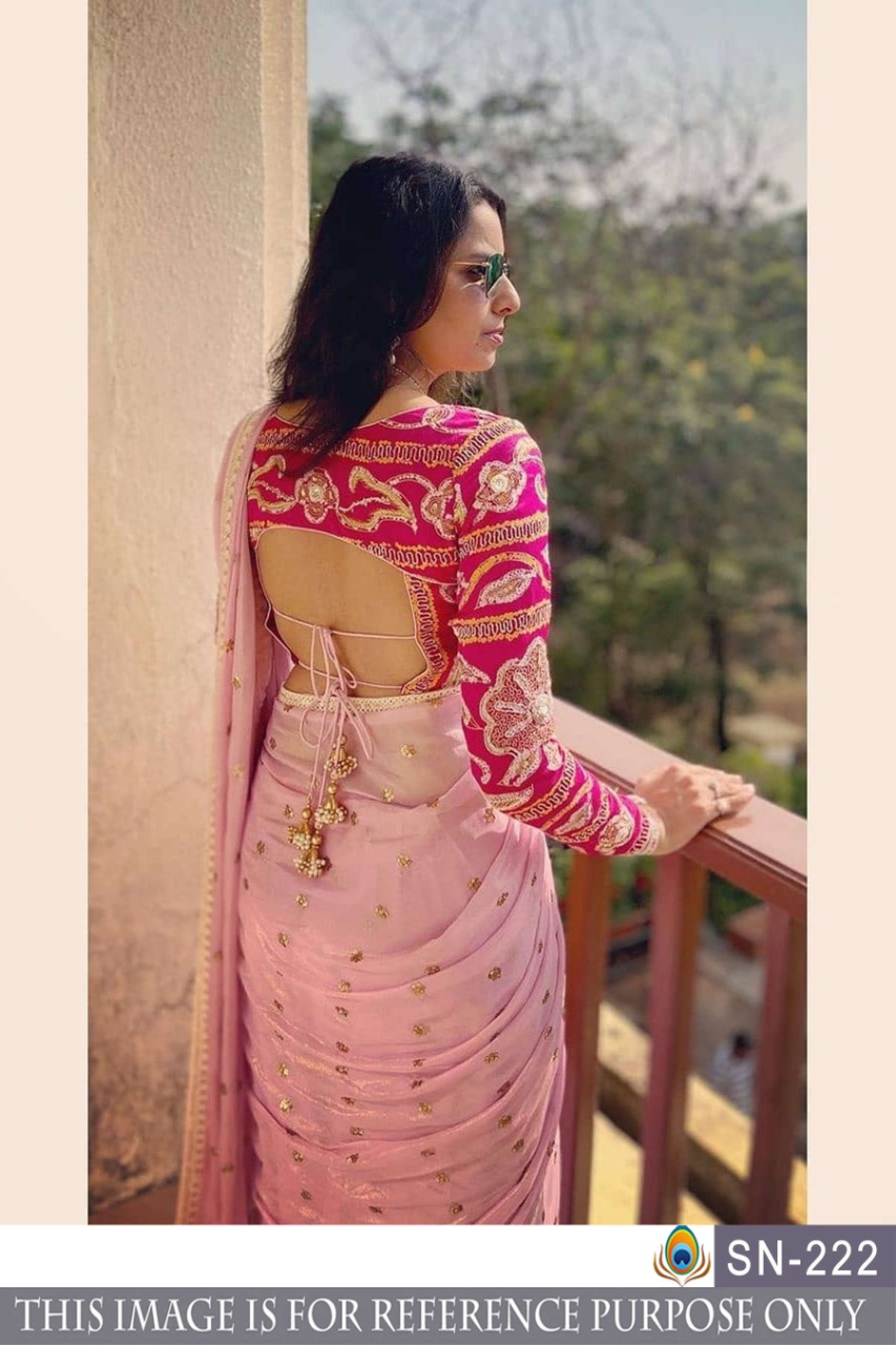 Georgette Bember Sequence And Dori Work Saree