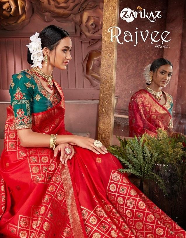Glam Elegance presents New Rajvee Vol 5 Banarasi Silk Saree Collection By Zarikaz