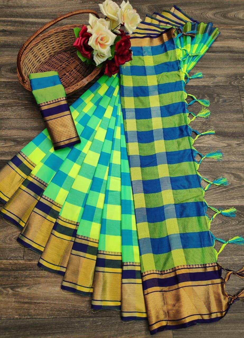 Big Cheks Premium Soft Cotton Silk Saree Collection