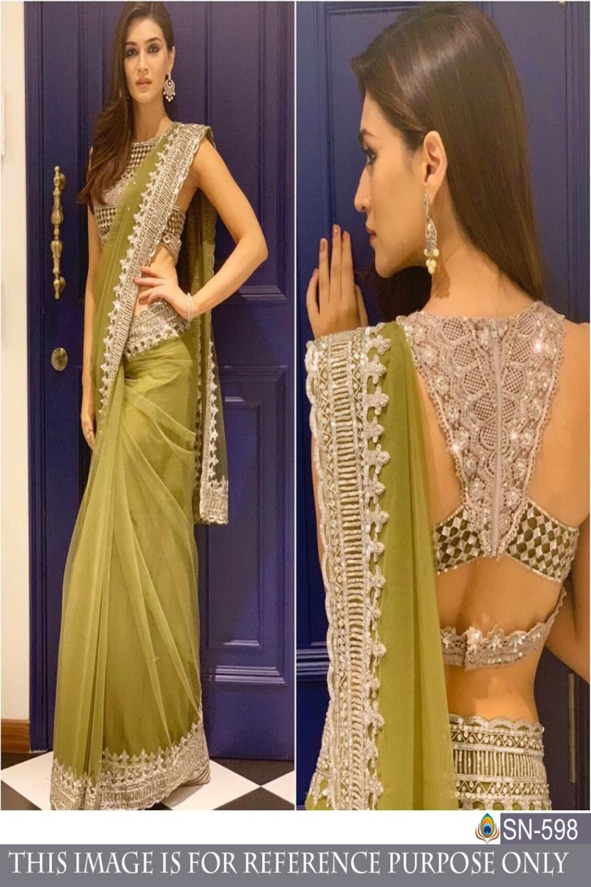 BUTTERFLY MONO NET FANCY THREAD WORK WITH SEQUENCE WORK SAREE