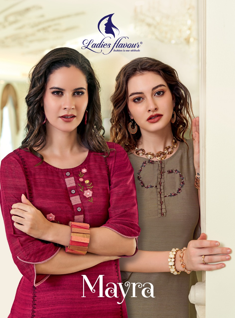 Ladies Flavour Mayra Heavy Rayon Casual Wear Kurti With Bottom full catalog