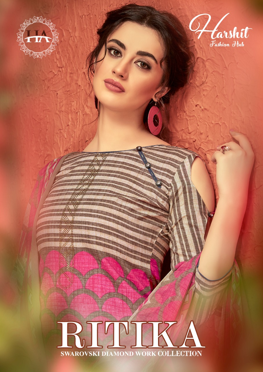 Harshit Fashion New Ritika Cotton Designer Print Dress Material Collection By Alok Suit