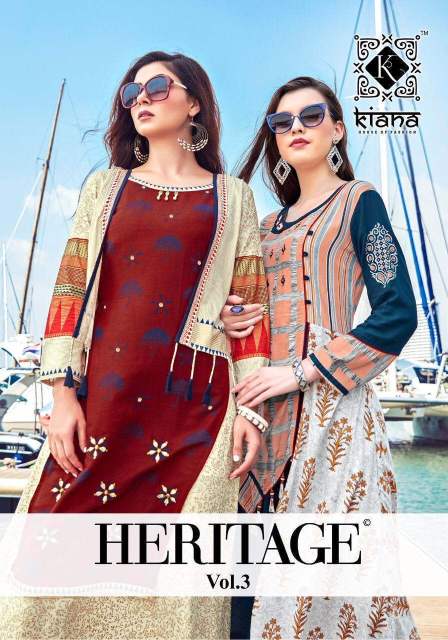 Kiana Heritage Vol 3 New Long Kurti Catalog Collection