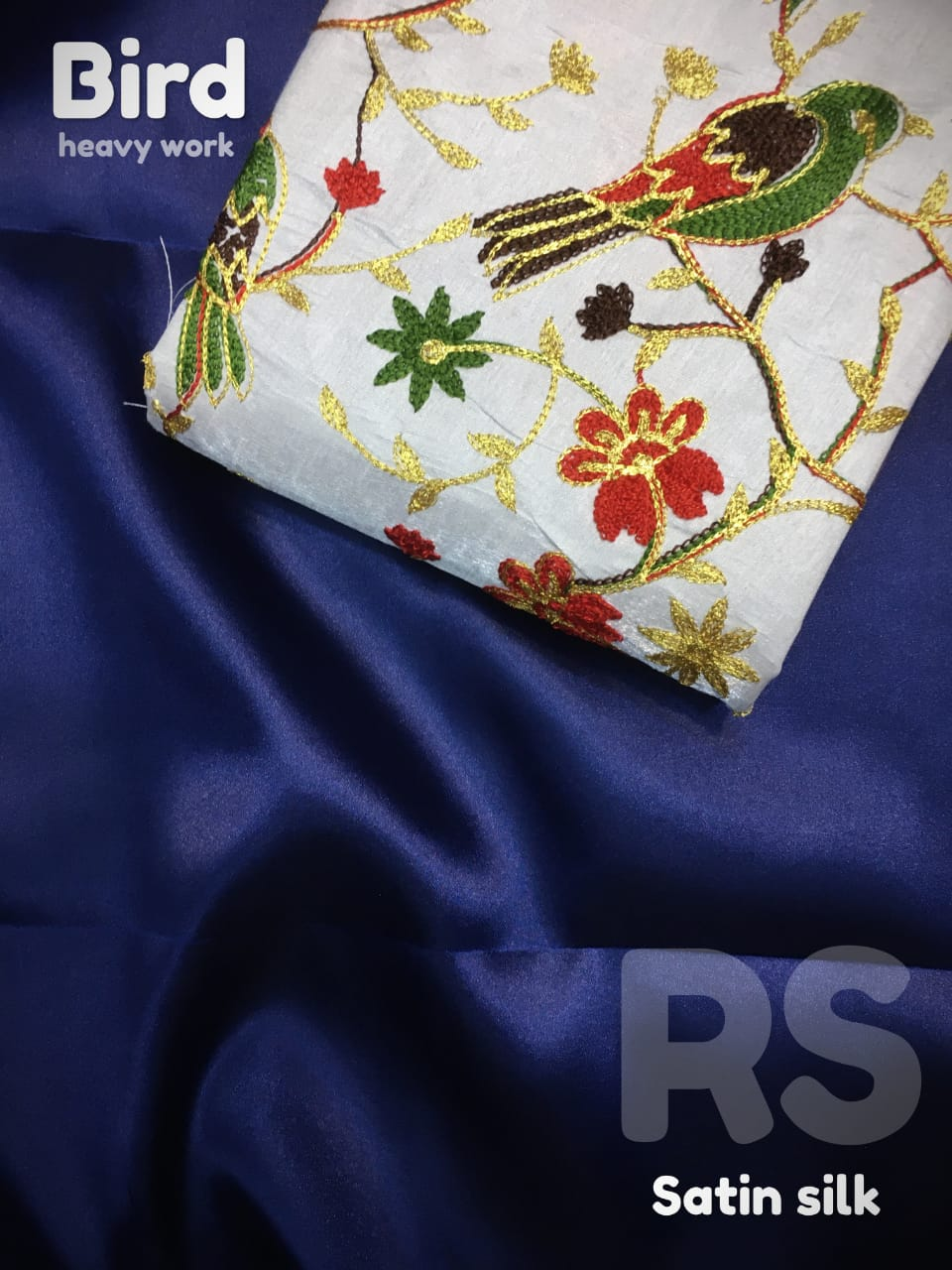 Rs Satin Pure Satin Silk Bird Heavy Work Embroidery Saree Collection