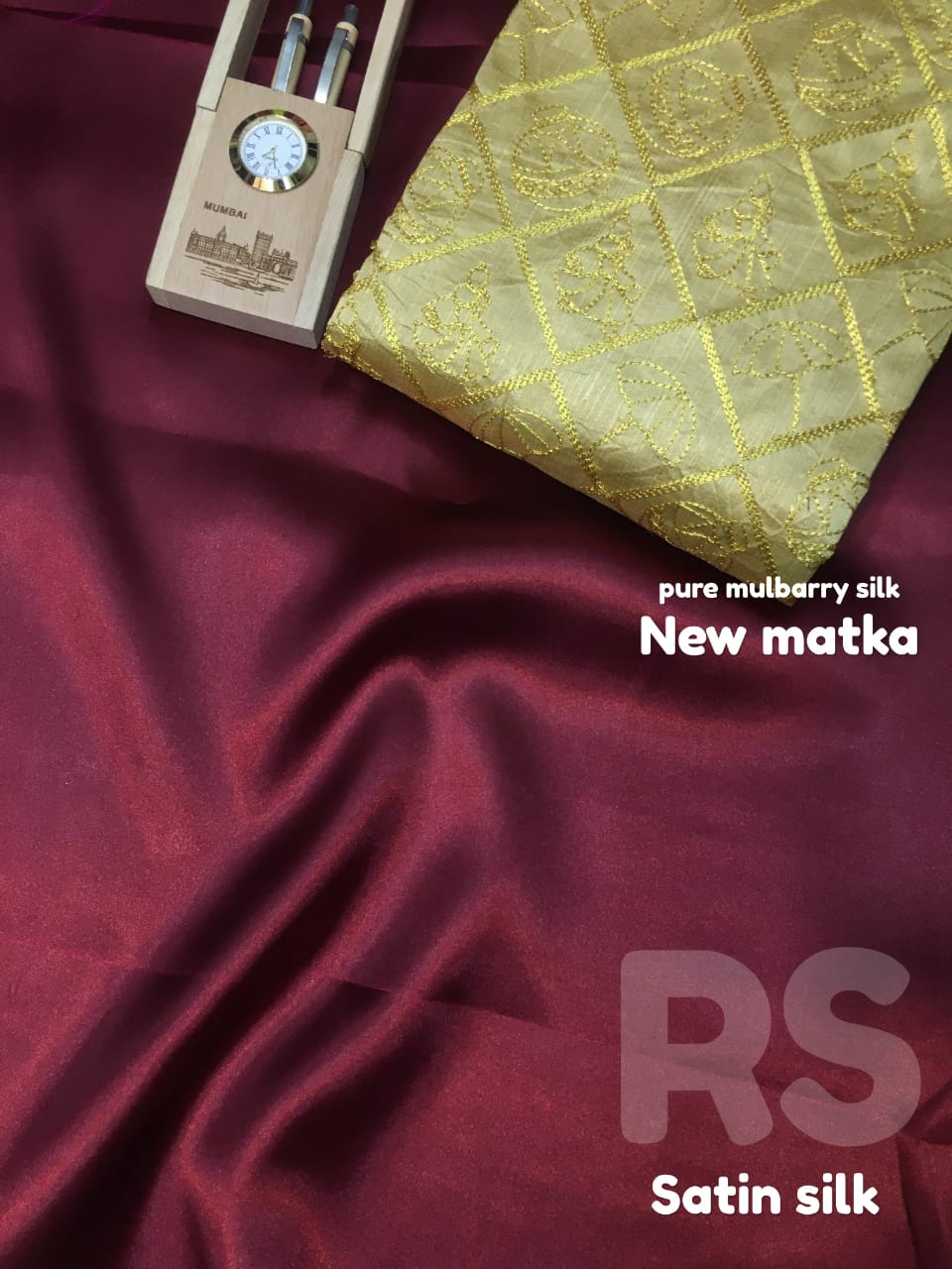 Rs Satin New Matka Pure Satin Silk Embroidery Saree Collection