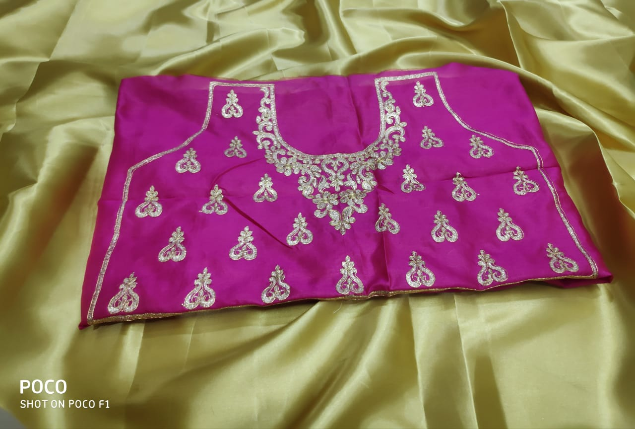 New Plain Satin Silk Saree With Heavy Embroidered Blouse Collection