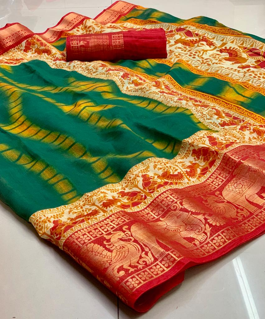 Sibori Print And New Fancy Unique Jacquard Border And Pochampally Pattu Saree