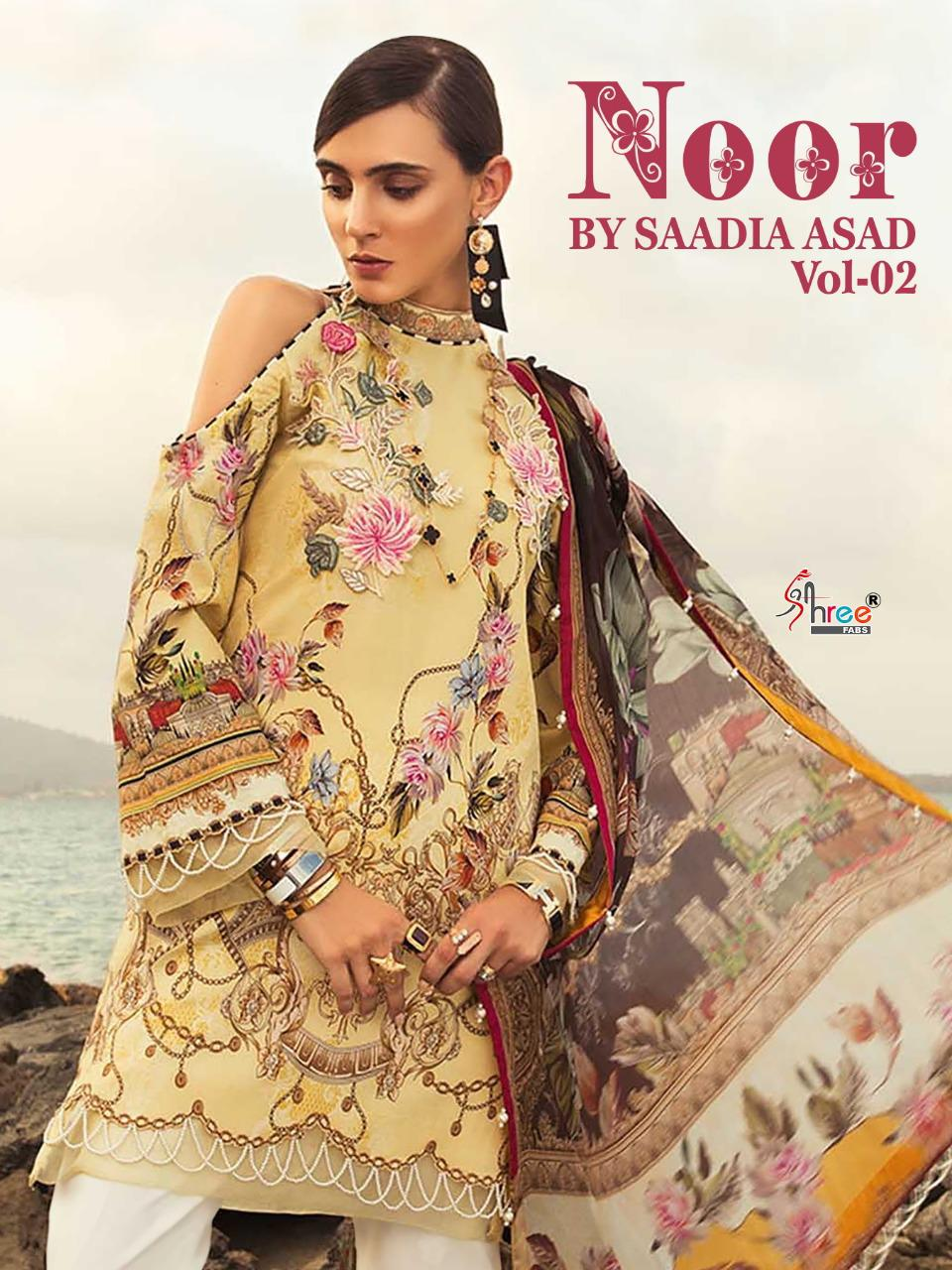 Shree Fab Noor By Saadia Asad Vol 2 Printed With Embroidery Salwar Suit Catalog Collection