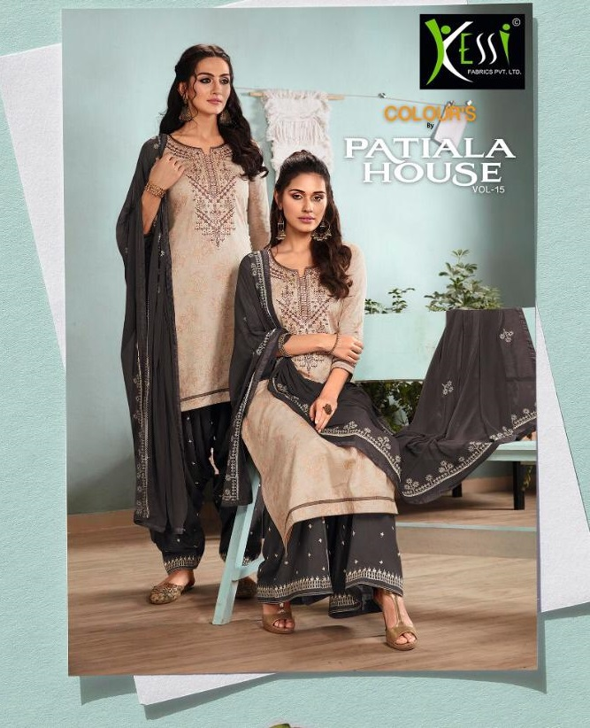 Kessi Present Colours By Patiala Vol 15 Satin With Embroidery Dress Material Collection