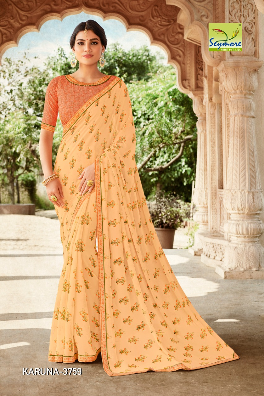Seymore Karuna 3 Georgette With Fancy Border Saree Collection