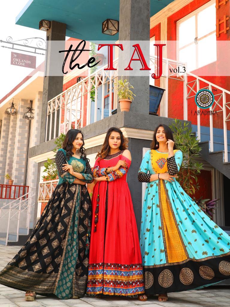 Aradhna Taj Vol 3 Heavy Rayon Print With Embroidery Work Kurti Collection