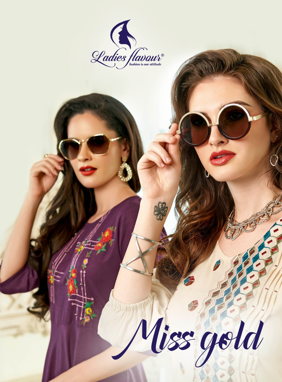 Ladies Flavour Miss Gold Marya Slub With Embroidery Work Long Kurti Catalog Collection