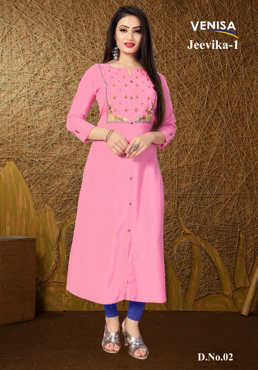 Jeevika 1 Heavy Ryon Embroidered Kurti Collection