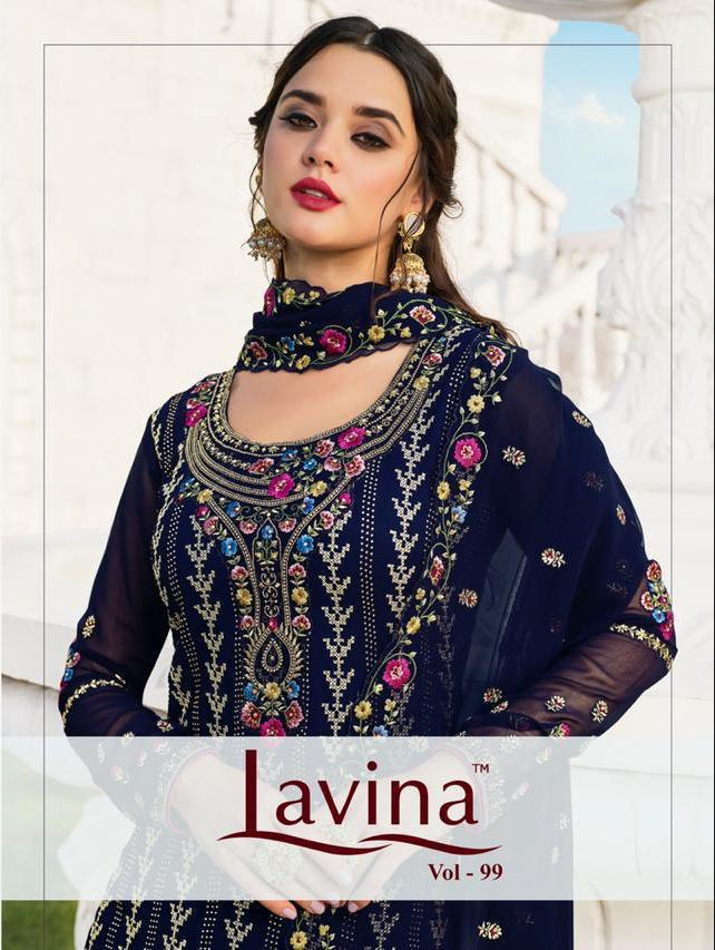 Lavina Vol 99 Georgette Embroidery With Swarovski Work Salwaar Suit Catalog Collection