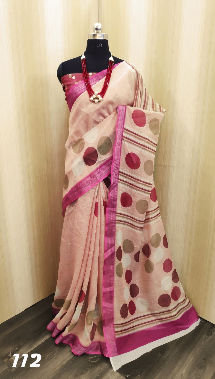 LD46 Linen Soft Linen Cotton Designer saree Catalog