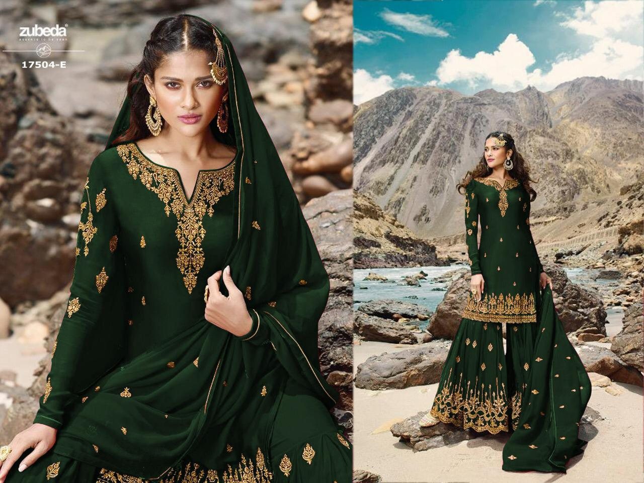 Zubeda Kaaynat Fancy Sharara Plazzo 17504 Faux georgette Heavy Embroidered Sharara Style Salwar Kameez