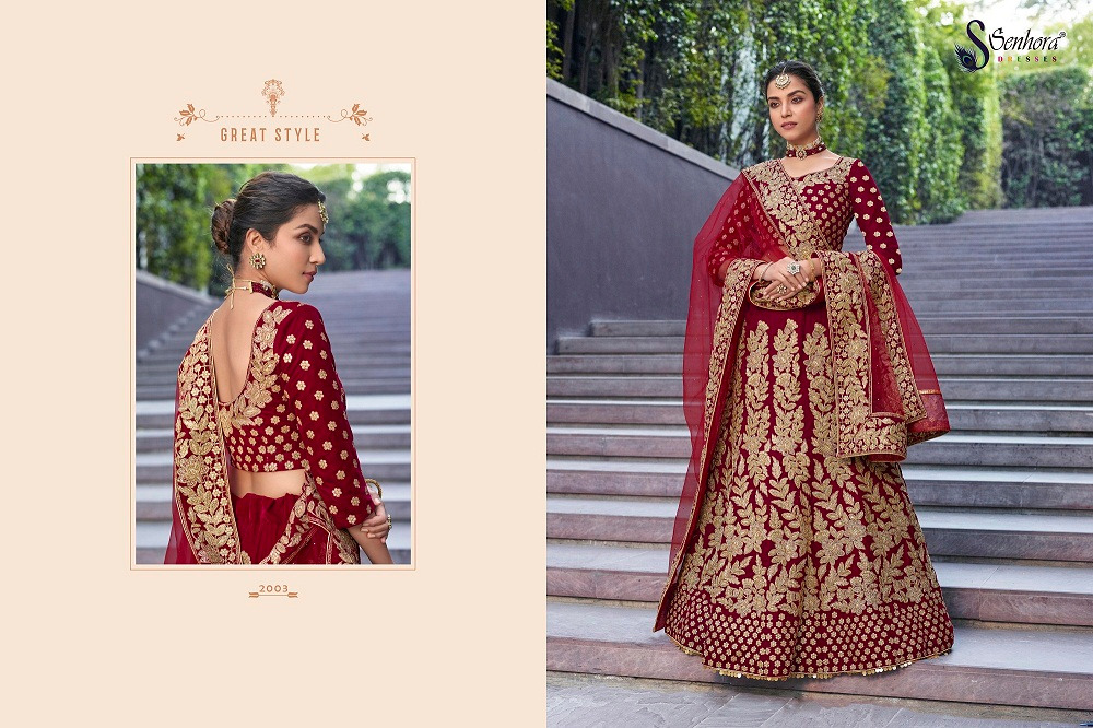 Senhora D.No. 2003 Latest Heavy Embroidered Bridal Lehenga Collection At Wholesale rate