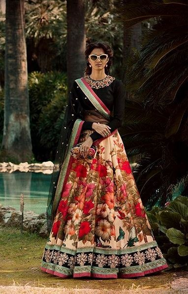 CODE : ZC-7006 Fine Art Silk Digital Printed And Embroidered Party Wear Lehenga