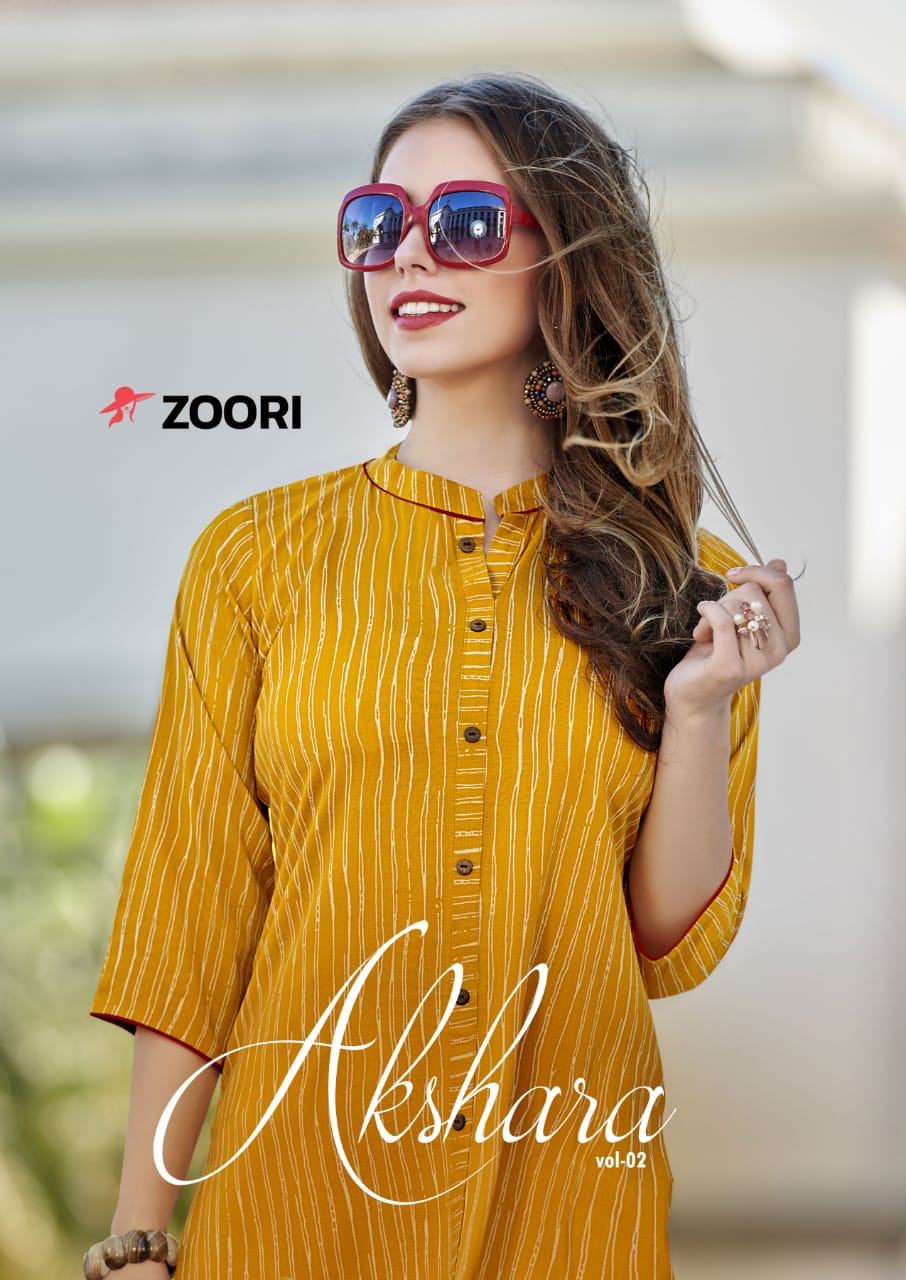 Zoori Akshara Vol-2 casual Wear Rayon Printed Kurti At Wholesale Rate