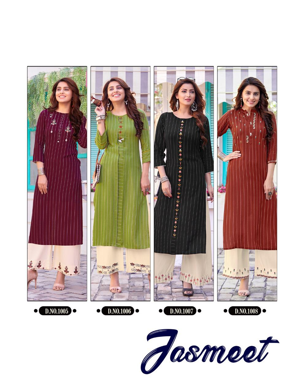 Ladies Flavour Jasmeet 14 Kg Rayon Strip Party Wear Kurti With Plazzo At Wholesale Rate