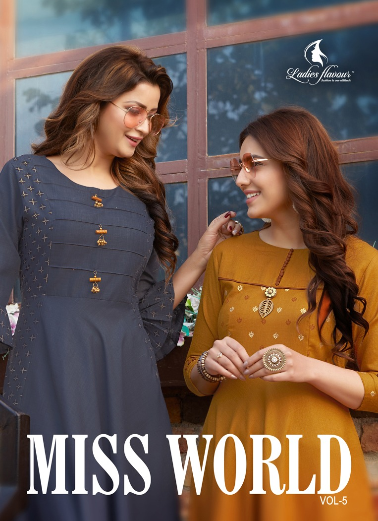 Ladies Flavour Miss World Vol-5 Designer Festive Wear Gown Style Long Kurti at Wholesale Rate