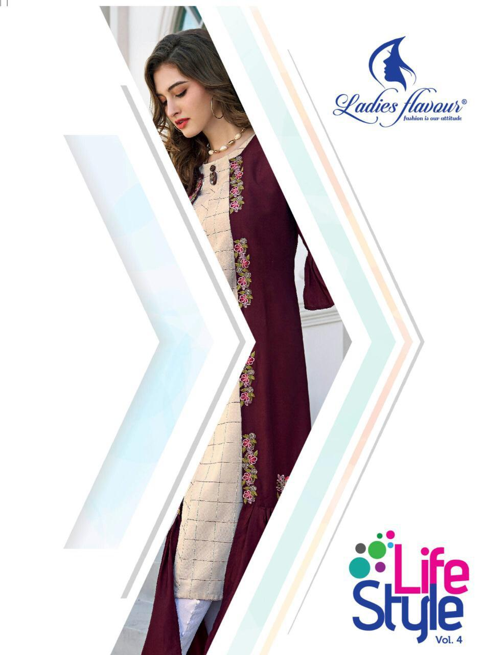 Ladies Flavour Life Style Vol-4 Latest Stylish South Cotton Kurti With Embroidered Shrug Catalog at Wholesale rate