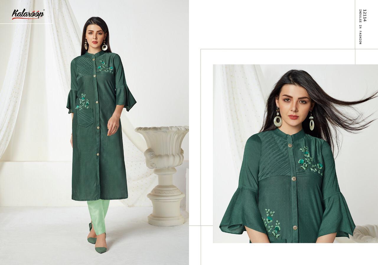 Kalaroop Octavia Vol-2  Fancy Lining Silk  with Hand Work  Straight Style Kurti Catalog at Wholesale rate