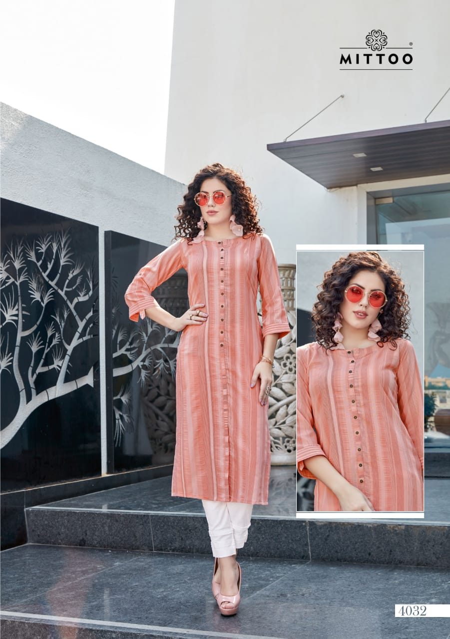 Mitto Mohini Fency Rayon Slub Lycra with Straight Kurti With Pant Catalog at Wholesale rate