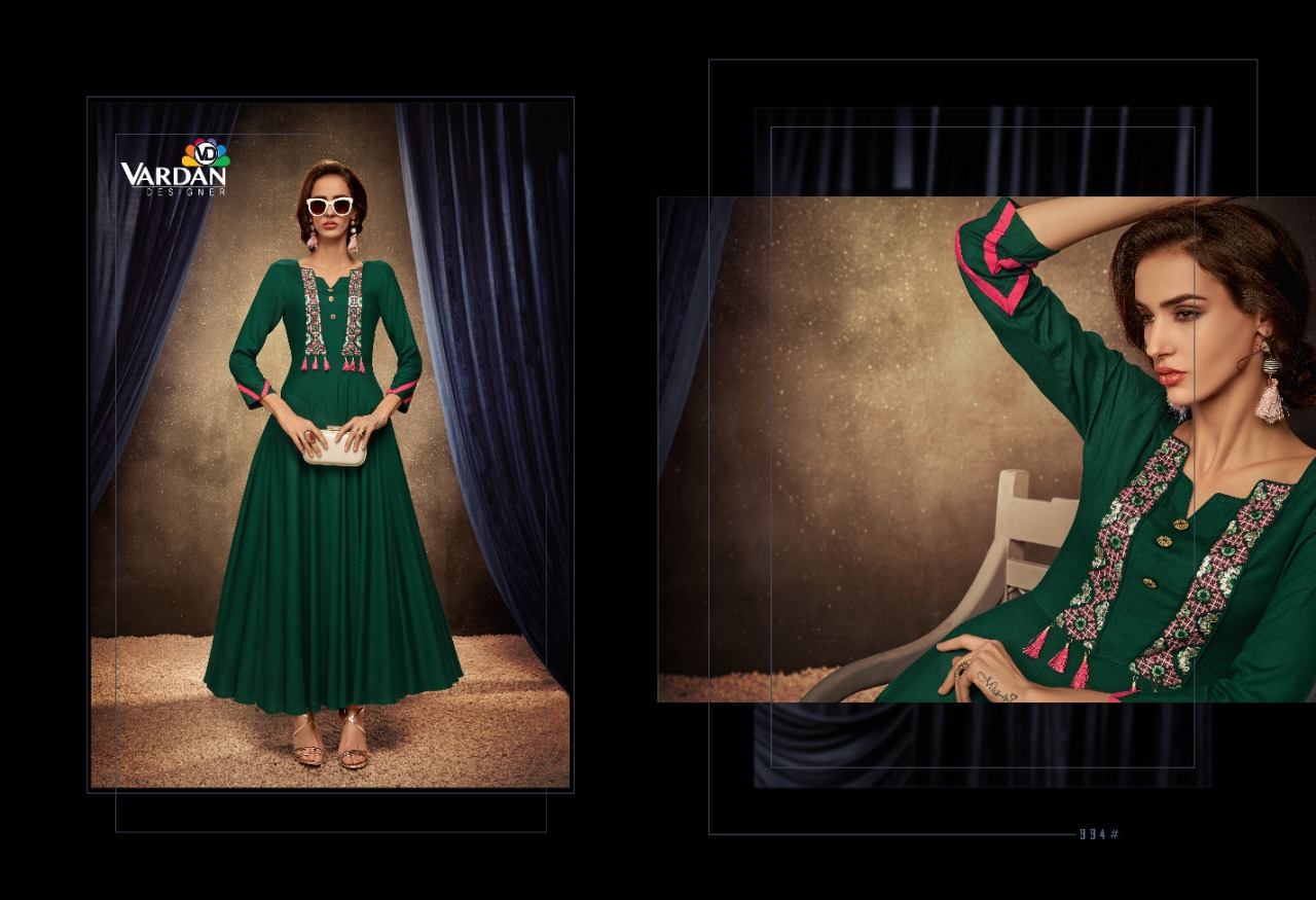 Vardan Designer  Passion Vol - 1  14 Kg Heavy Rayon  Fancy Gown style Kurti Catalog at Wholesale rate