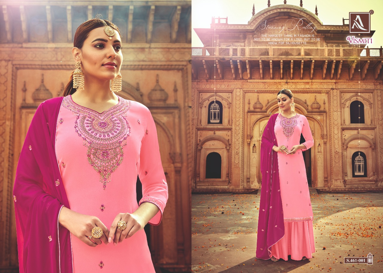 Alok Suit Vismati Pure Georgette Embroidery  Heavy Buti Duptta Latest Fancy Salwar Suit Catalog at Wholesale rate