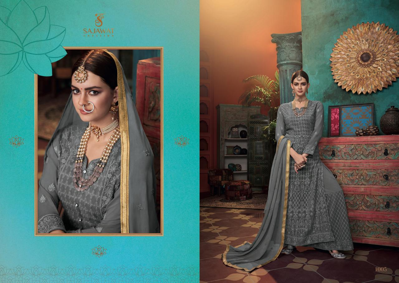 Sajawat Creation Meraki vol - 3 Heavy Embroidered Wedding Wear Faux Georgette Readymade  Anarkali Style Salwar Suit Catalog at Wholwsale rate