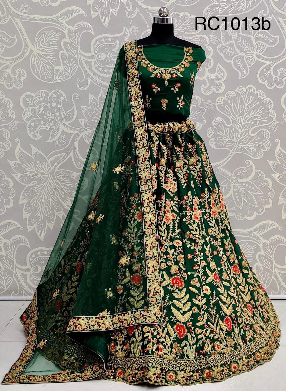 RC1013b Heavy Velvet Embroidery Bridal Wedding Wear Lehenga Choli at Wholesale rate