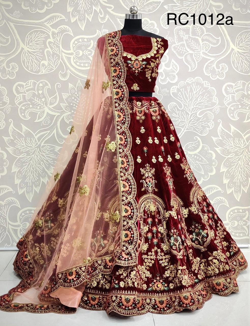 D.No RC1012a Bridal Wedding Wear Heavy Velvet Lehenga Choli at Wholesale rate