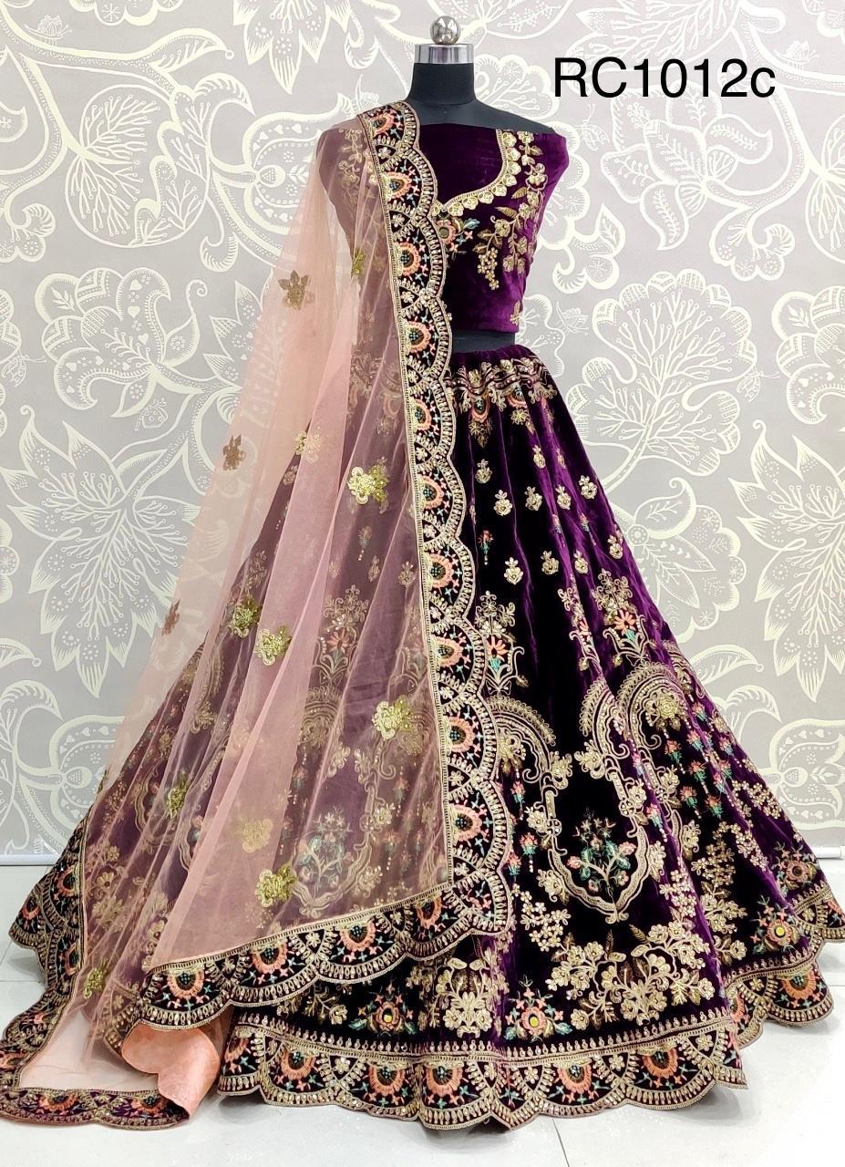 RC1012c Heavy Velvet Zari Embroidery Bridal Wedding Designer Lehenga Choli with Embroidery Wholesale rate