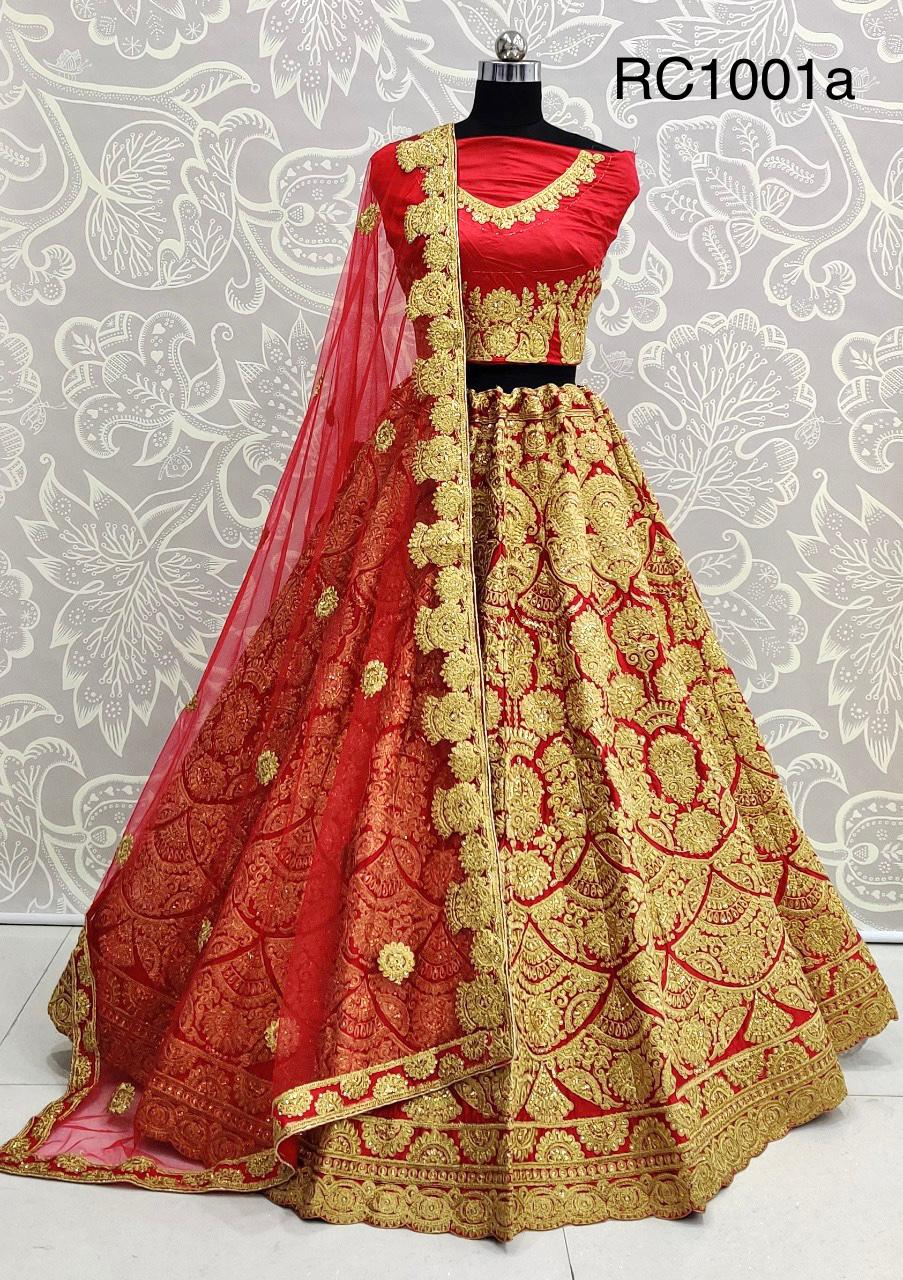 D.No RC1001a Red Satin Silk Wedding Bridal Lehenga Choli Embroidery Work at Wholesale rate