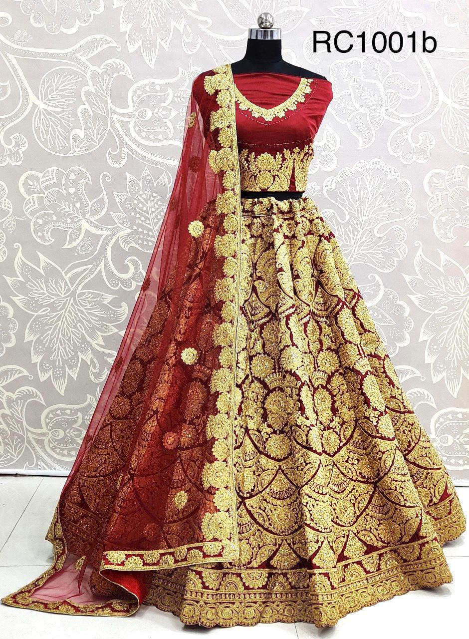 D.No RC1001b Maroon Heavy Bridal Wedding Embroidery Lehenga Choli at Wholesale rate