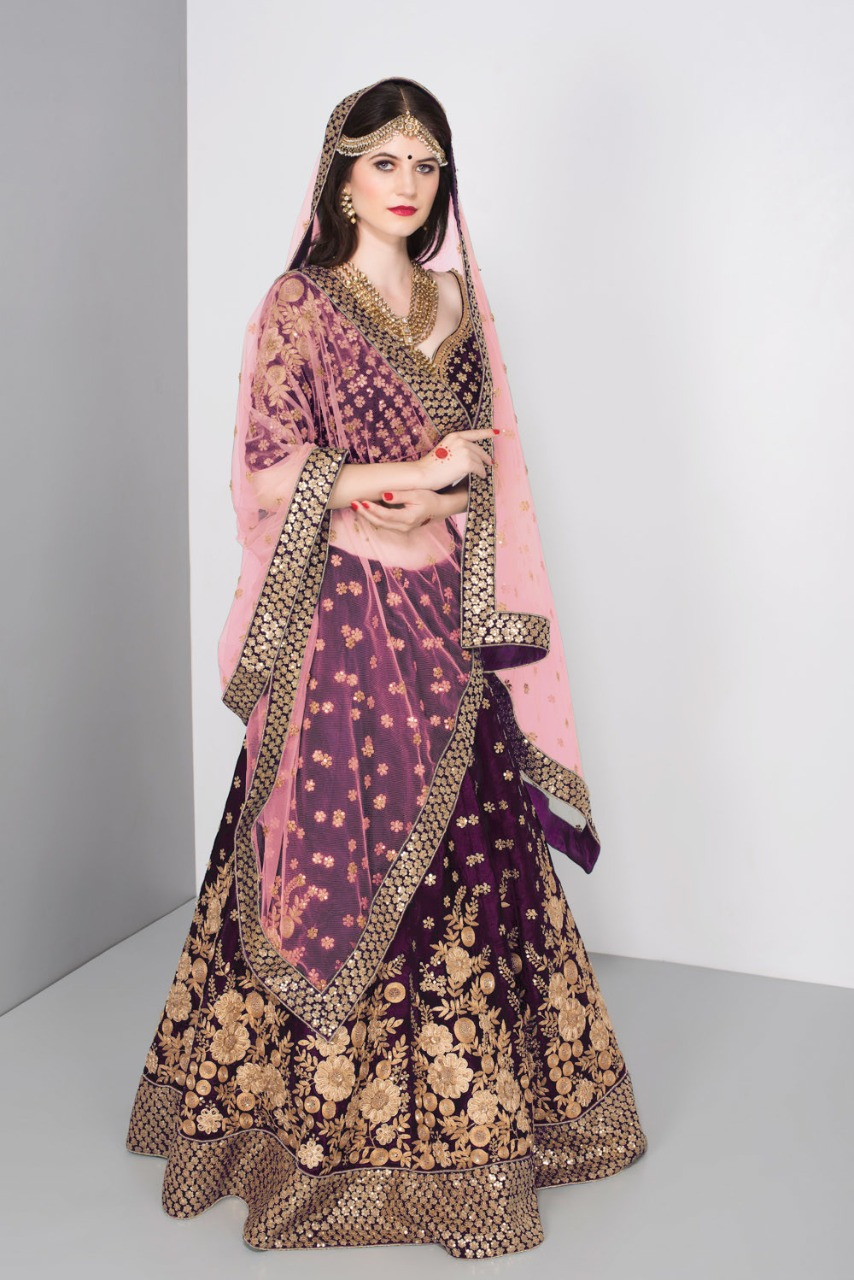 D.No ZC-7024 -Purpal Pure Velvet With Zari Embroidery New Arrival Bridal Lehenga at Wholesale rate
