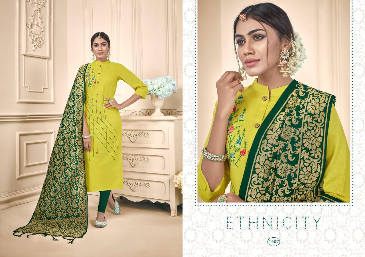 Avc Raas  Fancy Desiner  Cotton Slub Dress Material with Banarasi Duptta Catalog at wholesale rate